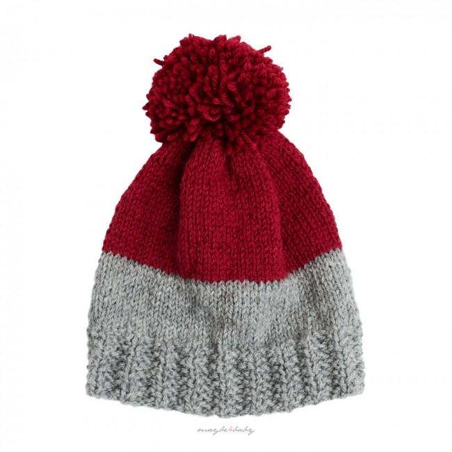Winter Cap szara/bordo