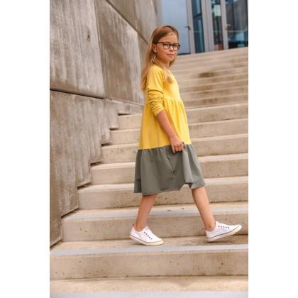 Loose Dress long sleeve yellow / green