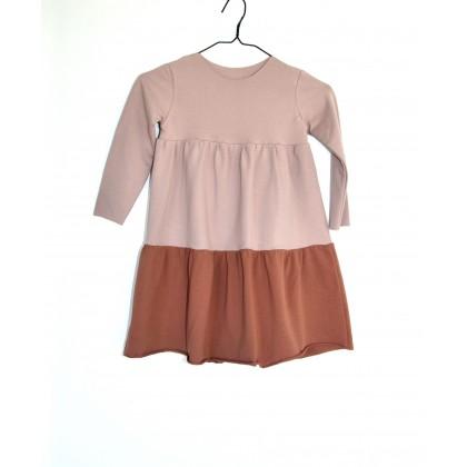 Loose Dress long sleeve light pink / brown