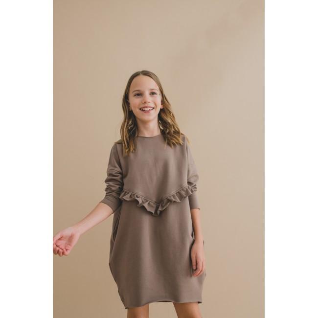 Frill Dress brown 15.3